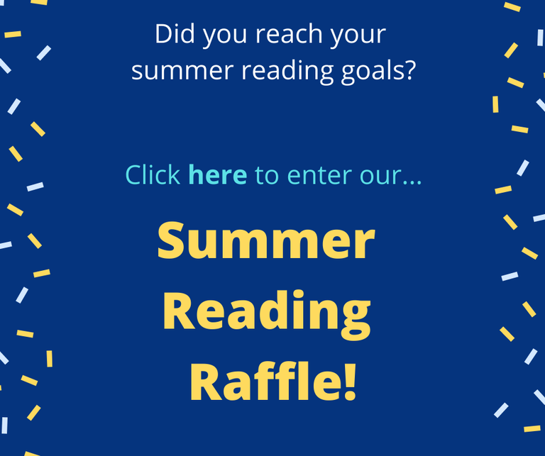 """A blue square that says """"Click here to enter our Summer Reading Raffle"""" in yellow text."""