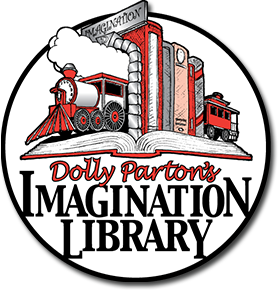 Dolly Parton's Imagination Library Logo of a train made out of books.