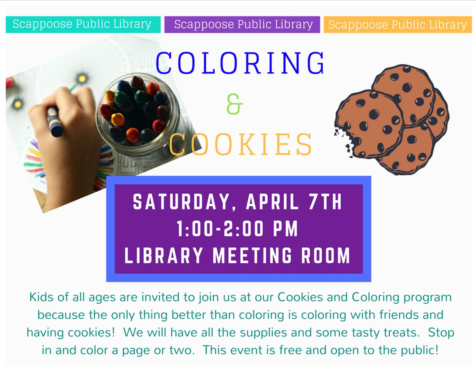 04.07.18 Saturday event Coloring and Cookies.jpg
