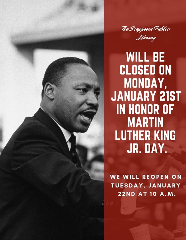The library will be closed in honor of the Martin Luther King JR. Holiday..jpg